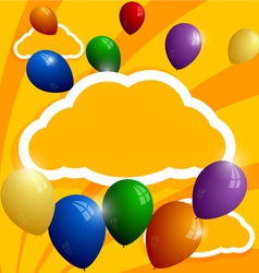 Flying balloons on a background of clouds vector image