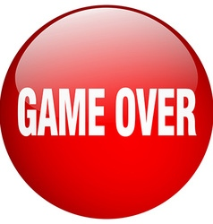 Game over red round gel isolated push button vector