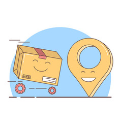 gift delivery packed box and geolocation symbol vector image