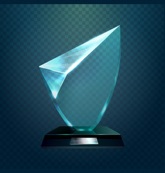 Glass trophy or cup champion blank prize vector