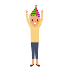 Grandma happy wearing birthday hat with arms up vector