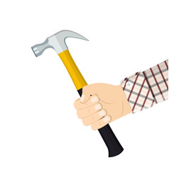 hand holding hammer vector image