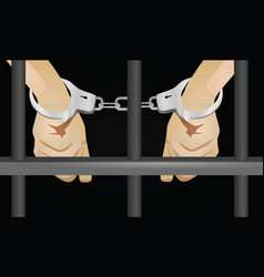 Hands with handcuffts behind prison cell vector