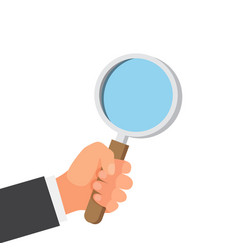 hands with magnifying glass vector image