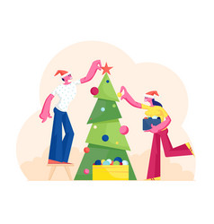 happy man and woman decorating christmas tree put vector image