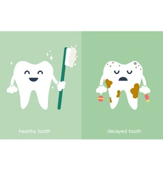 Healthy and decayed tooth vector