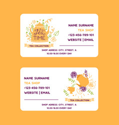 Herbal tea business card with teapot vector