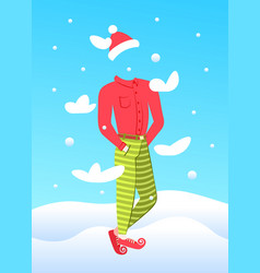 Invisible man wear new year costume merry vector