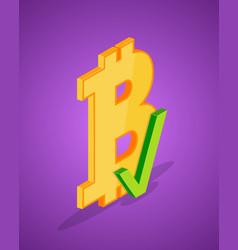Isometric bitcoin icon vector