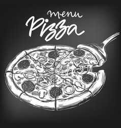 italian pizza drawn in white chalk on a black vector image