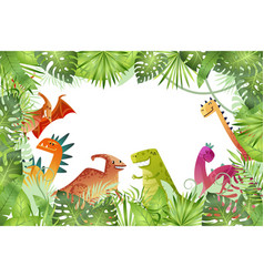 jungle background funny dinosaurs on rainforest vector image