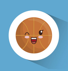 Kawaii basketball ball icon vector