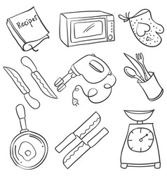 Kitchen set hand draw doodles vector