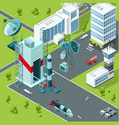 Launch pad of the spaceport isometric buildings vector