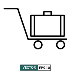 luggage trolley icon line style baggage vector image
