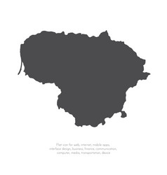 map lithuania isolated black vector image