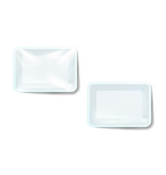 mockup white realistic plastic food container vector image