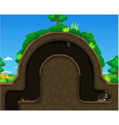 Mole hill dig underground cartoon vector