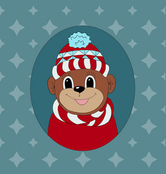 Monkey in a red cap and scarf print for clothes vector