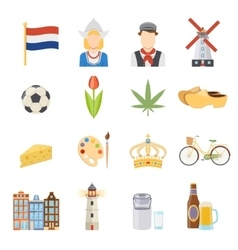 Netherlands Flat Icons Set vector image