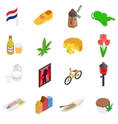 Netherlands icons set isometric 3d style vector