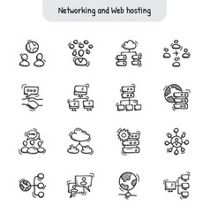 Networking and web hosting hand drawn icons vector