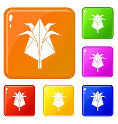 origami flower icons set color vector image