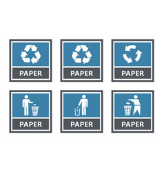 Paper recycling labels set waste sorting icons vector
