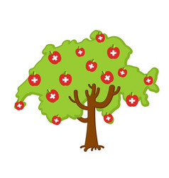 patriotic apple tree switzerland map apples swiss vector image