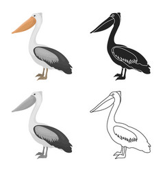 Pelican icon in cartoon style isolated on white vector