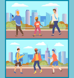 People walking at streets city citizens vector