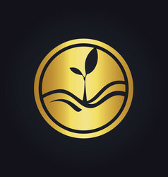 Plant gold ecology logo vector