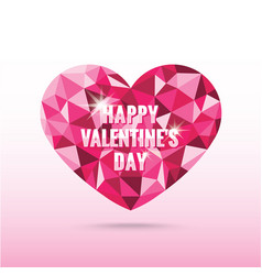 Polygonal pink heart valentines day with shadow vector