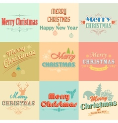 Retro Vintage Merry Christmas labels vector