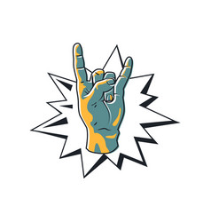 rock gesture horned fingers vector image