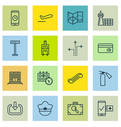 Set of 16 transportation icons includes flight vector