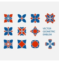 set of geometric shapes Round red and blue vector image