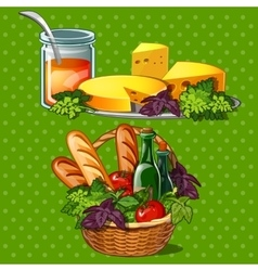 Set of tasty and healthy food vector
