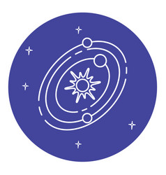 Solar system icon in thin line style vector