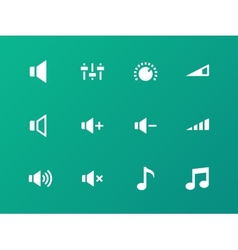 Speaker icons on green background Volume control vector