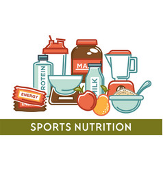 Sport nutrition gaining weight protein and organic vector