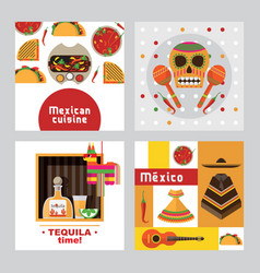 square cards templates dedicated to mexico vector image