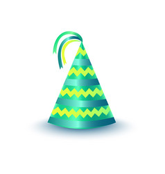 striped green party hat with ribbons icon vector image
