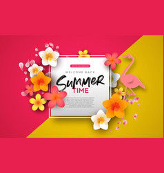 summer background template pink flowers and vector image
