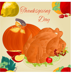 thanksgiving day seamless texture turkey vector image