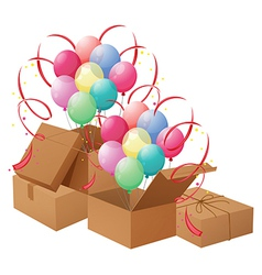 The balloons and the boxes vector
