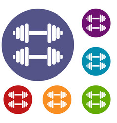 two dumbbells icons set vector image