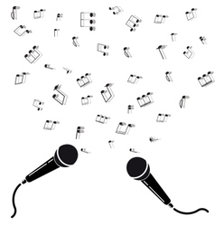 two microphones black silhouette with notes vector image