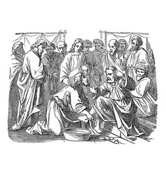Vintage drawing biblical story jesus washes vector