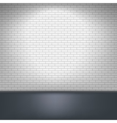 White brick wall and floor vector